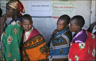Maasai women voting in western Kenya in 2008. (Pic from BBC News)