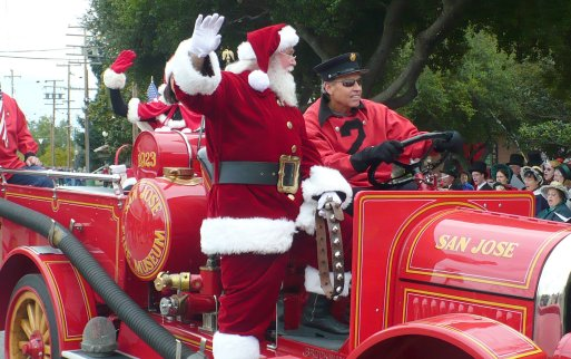 Santa and fire engine